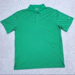 Nike Golf Mens XL Drifit TP Green Stripe Polo